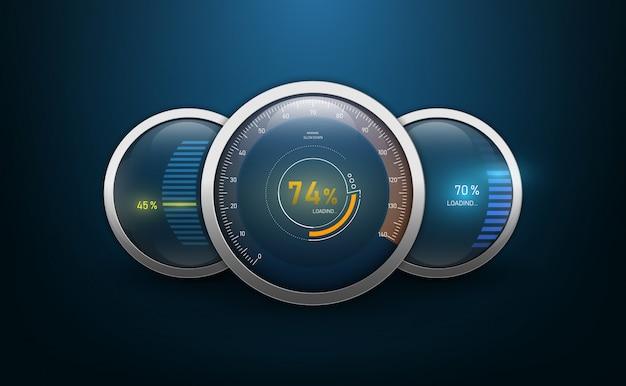 Speedometers for dashboard. Premium Vector