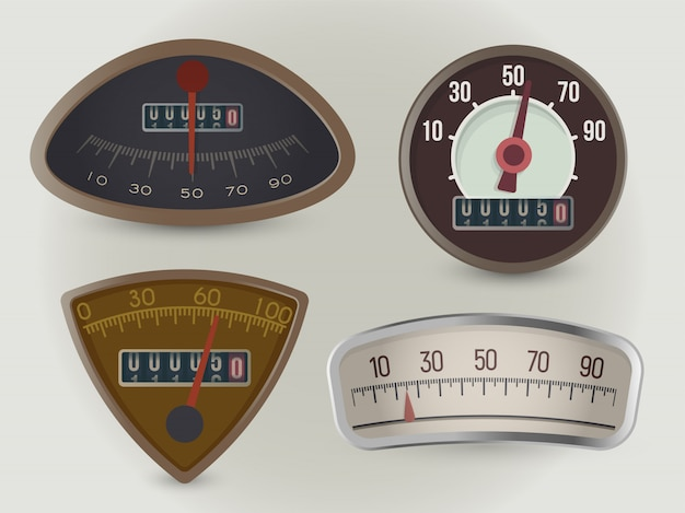 Speedometers, speed gauges realistic illustrations set Premium Vector