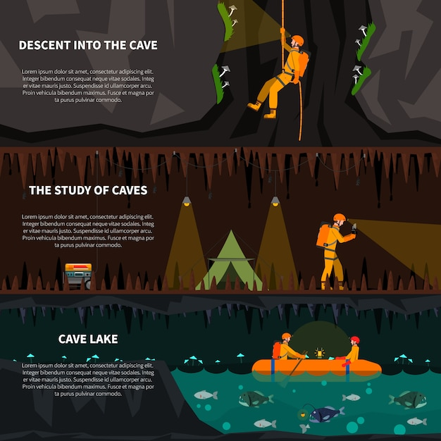 Speleiologists in cave flat banners set Free Vector
