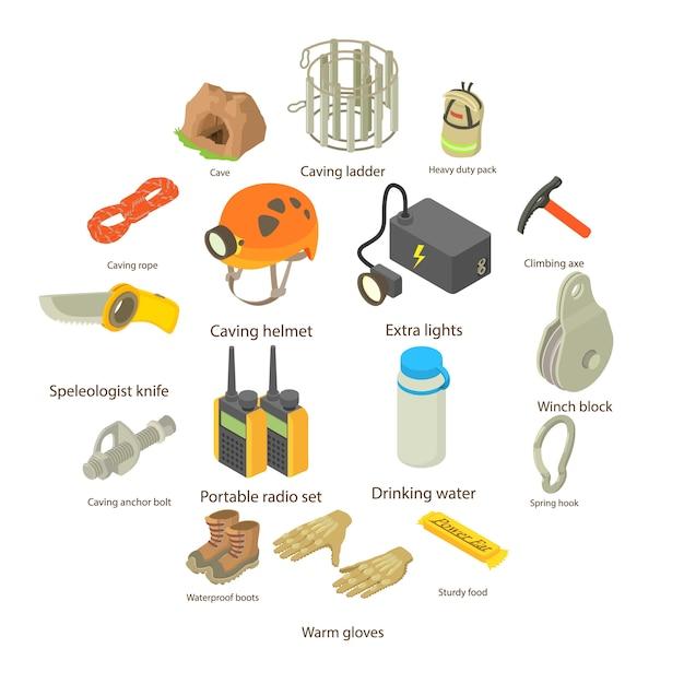 Speleologist icons set, isometric style Premium Vector