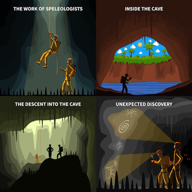 Speleologists 4 flat icons square banner Free Vector