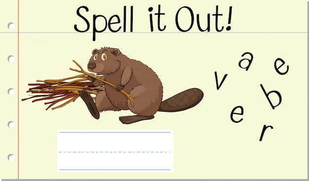 Spell english word beaver Free Vector