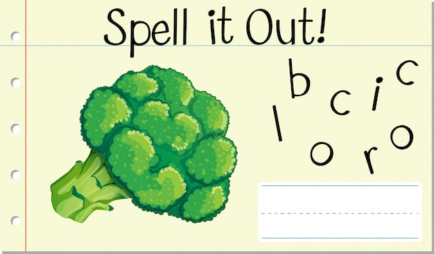 Spell english word broccoli Free Vector