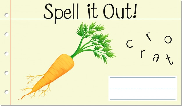 Spell english word carrot Free Vector