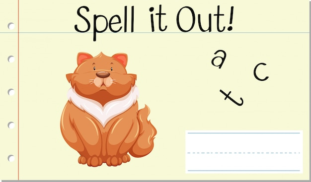Spell english word cat Free Vector