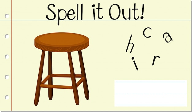 スペル英語の単語の椅子 無料ベクター