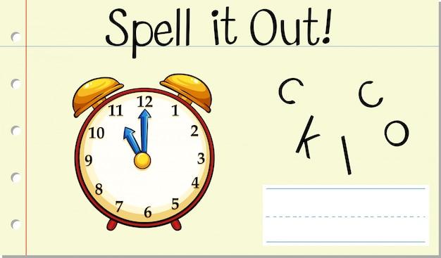 Spell english word clock Free Vector