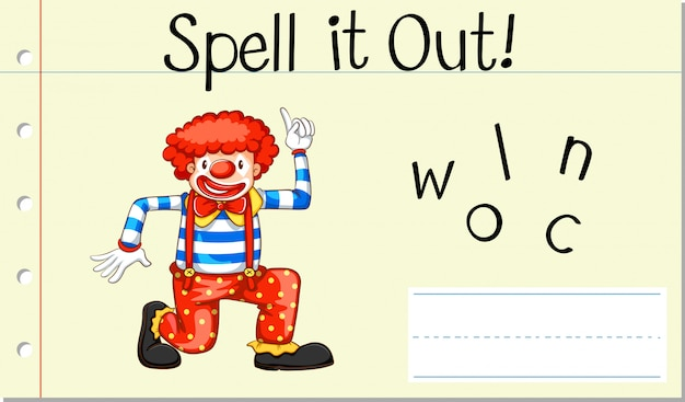 Spell english word clown Free Vector