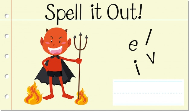 Spell english word  devil Free Vector