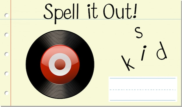 Spell english word disk Free Vector