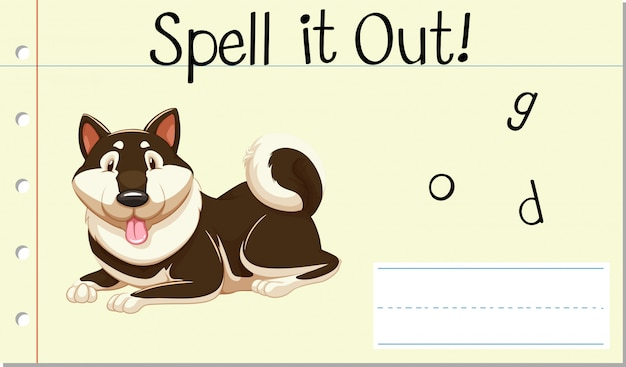Spell english word dog Free Vector