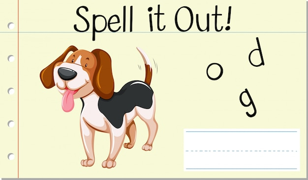 Incantesimo parola inglese cane Vettore gratuito