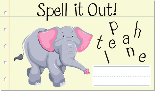Spell english word elephant Free Vector