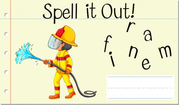 Spell english word fireman Free Vector
