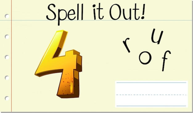 Spell english word four Free Vector