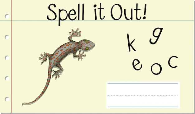 Spell english word gecko Free Vector