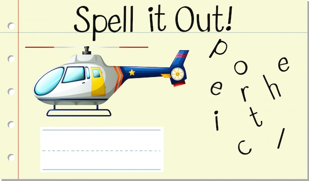 Spell english word helicopter Free Vector