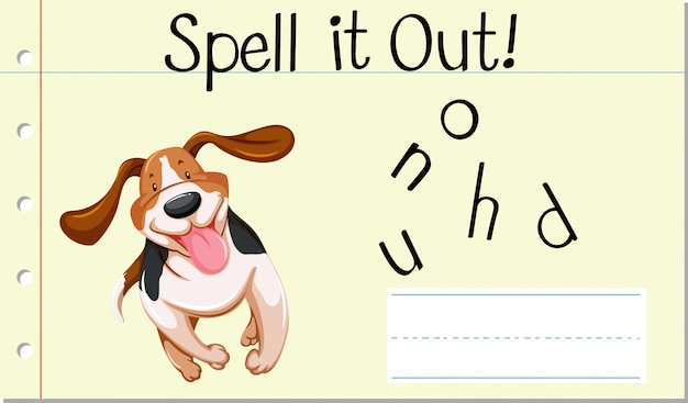 Spell english word  hound Free Vector
