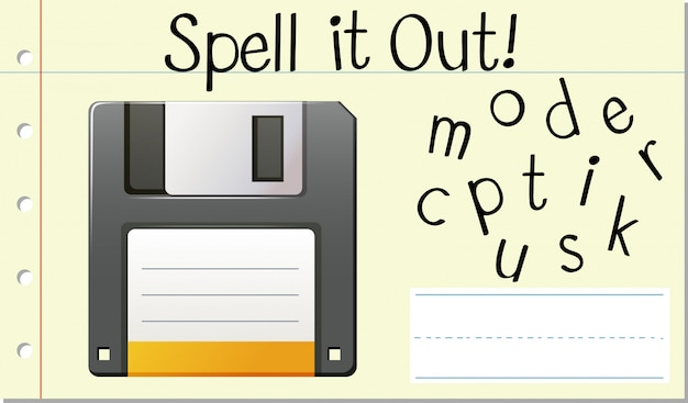 Spell enlish word computer disk Free Vector