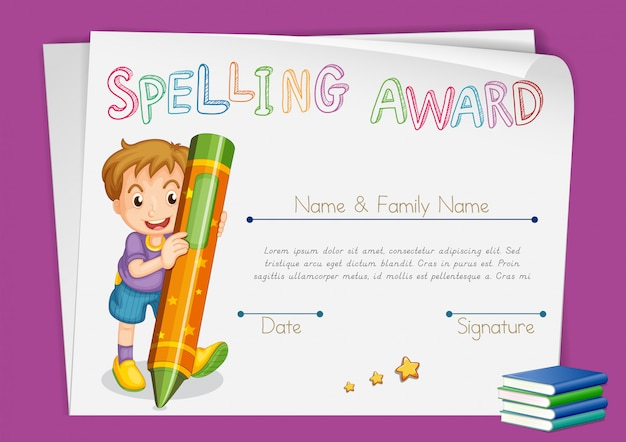 Spelling award certificate template with kids and crayon Free Vector