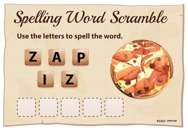 単語ピザのスペルスクランブル Premiumベクター