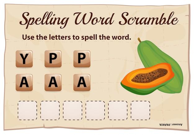 Ortografia parola scramble gioco con la parola papaia Vettore gratuito