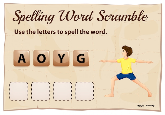 Spelling word scramble template for word yoga Free Vector