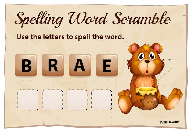 Spelling word scramble for word bear Free Vector