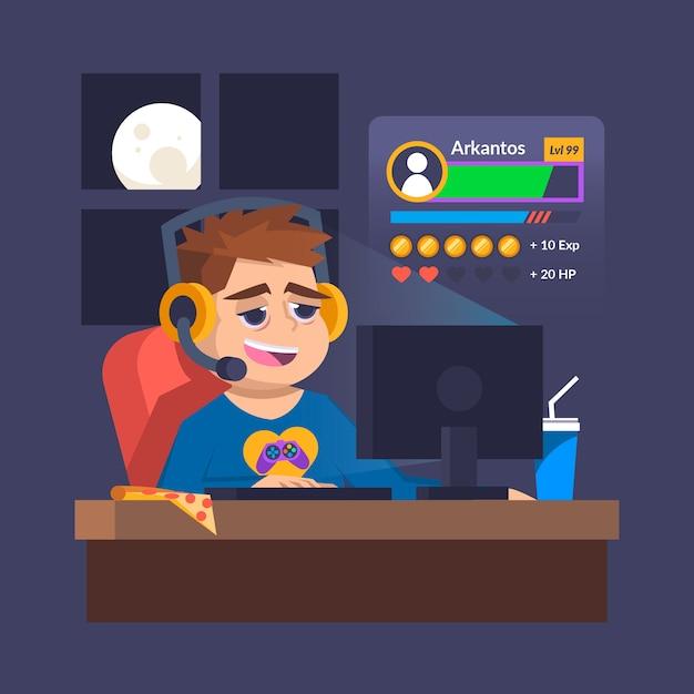 オンラインゲーム中毒で一晩中過ごす 無料ベクター