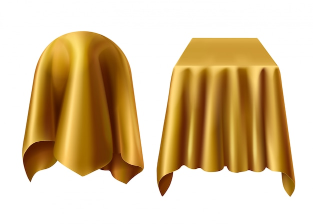 黄金の布で覆われた球と箱 無料ベクター