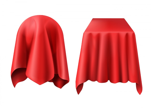 Sphere and box covered with red cloth Free Vector