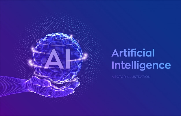 Sphere grid wave with binary code. ai artificial intelligence logo in hand. machine learning concept. Free Vector