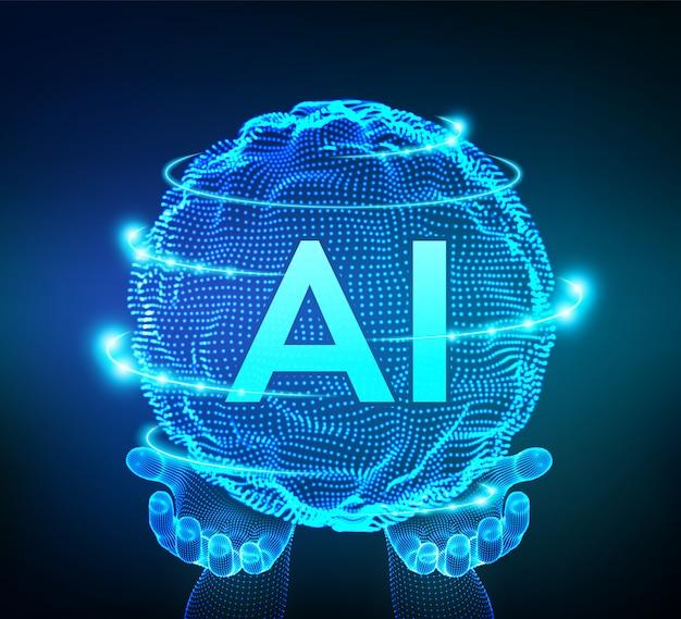 バイナリコードの球グリッドウェーブ。手にai人工知能のロゴ。機械学習の概念。 Premiumベクター