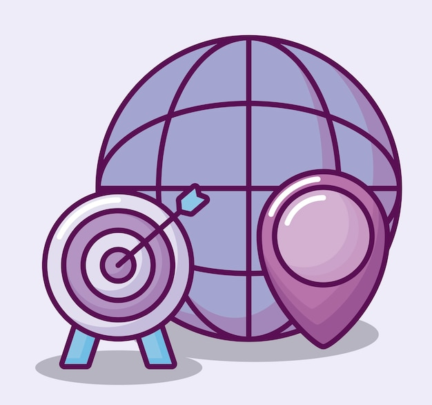 Sphere with business icons Free Vector