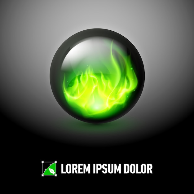 Sphere with fire flames Premium Vector