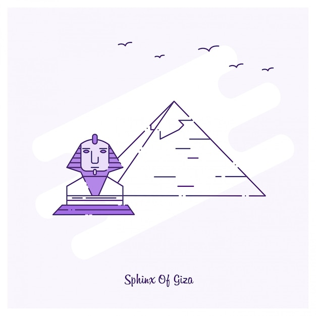 Sphinx of giza landmark purple dotted line skyline Free Vector