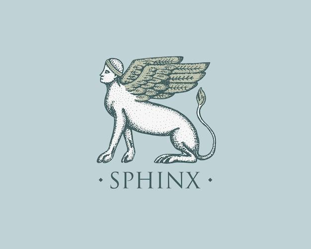 スフィンクスのロゴ古代ギリシャ、アンティークシンボルヴィンテージ、スケッチで描かれた刻まれた手または木のカットスタイル、古いレトロ探し Premiumベクター
