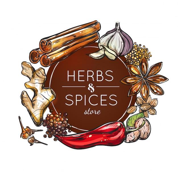 Emblema del negozio di spezie e erbe Vettore gratuito