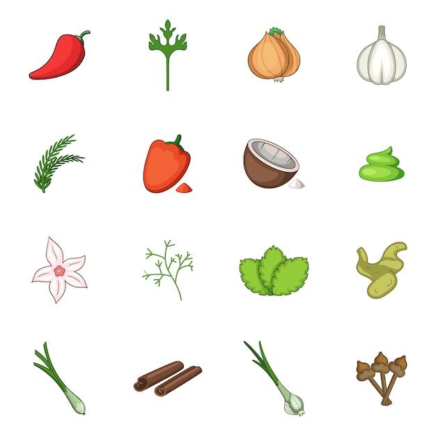 Spice icons set Premium Vector