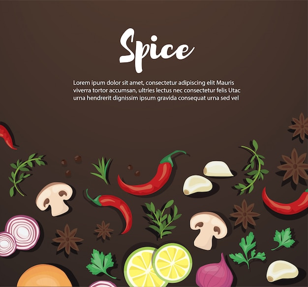Spice and vegetable foods Premium Vector