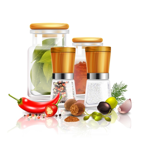 Spices 3d composition Free Vector