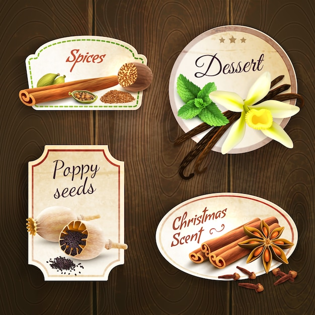 Spices badges set Free Vector