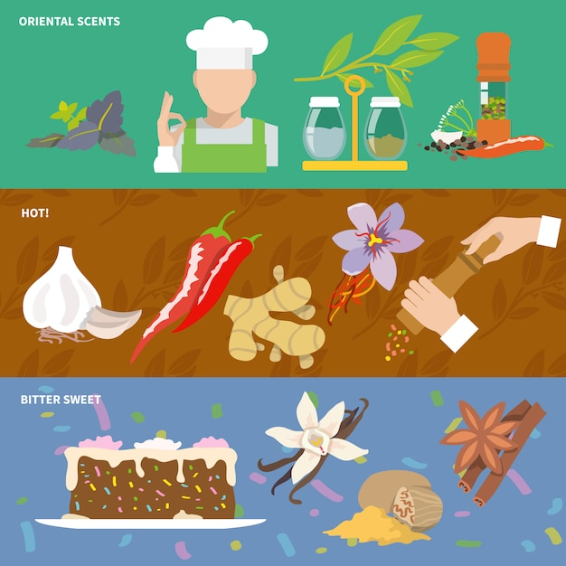 Spices banner with elements composition Free Vector