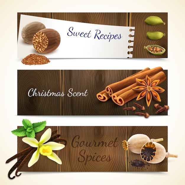 Spices banners horizontal Premium Vector