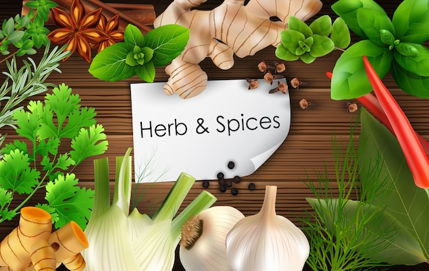 Spices and herbs on brown wooden background Premium Vector