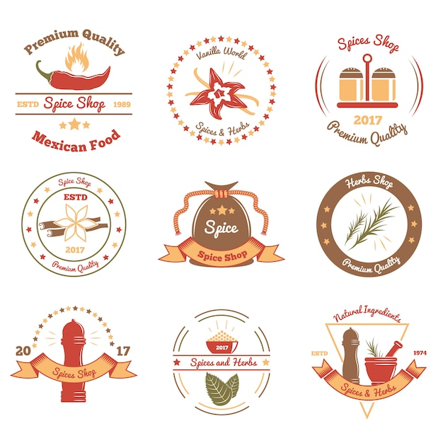 Spices and herbs colored emblems Free Vector