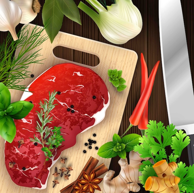 Spices and herbs and meat with cutting board and knife Premium Vector