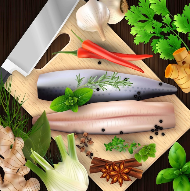 Spices and herbs and seafood with cutting board and knife Premium Vector