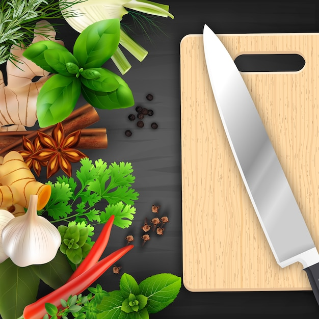 Spices and herbs with cutting board and knife Premium Vector