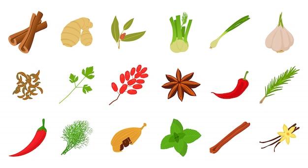Spices icon set Premium Vector